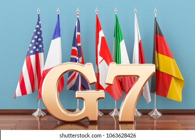 Flags of all members G7, meeting concept. 3D rendering