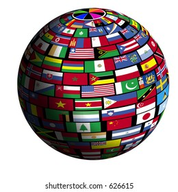 Flags of all nations cover the earth surface.