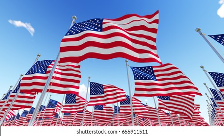 Flags of America USA against blue sky. Three dimensional 3D rendering illustration.