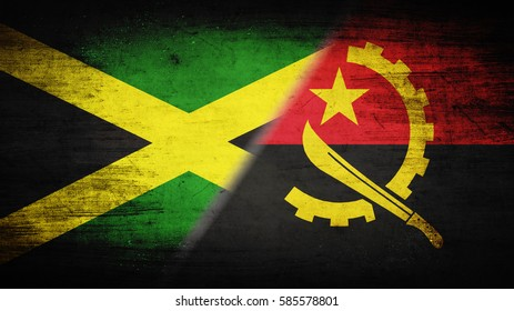 Flags of Angola and Jamaica divided diagonally