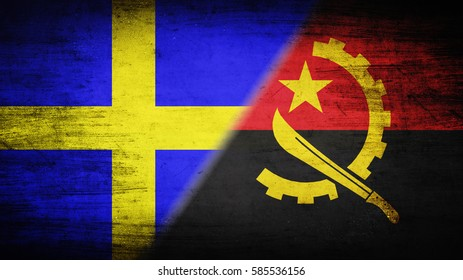 Flags of Angola and Sweden divided diagonally