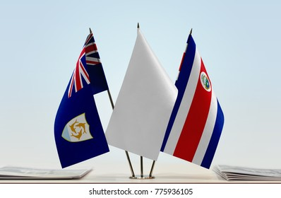 Flags of Anguilla and Costa Rica with a white flag in the middle