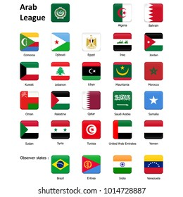 Flags of the Arab League and observer states. Abstract concept, set of icons, squares, buttons. Raster illustration on white background.