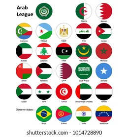 Flags of the Arab League and observer states. Abstract concept, set of icons. Raster illustration on white background.
