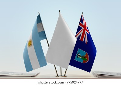 Flags of Argentina and Montserrat with a white flag in the middle
