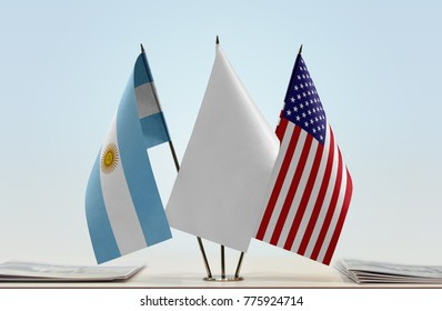 Flags of Argentina and USA with a white flag in the middle