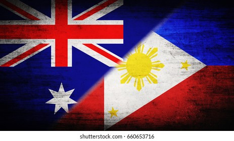 Flags of Australia and Philippines divided diagonally