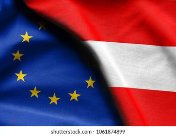 Flags of the Austria and the European Union.