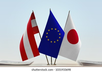 Flags of Austria European Union and Japan