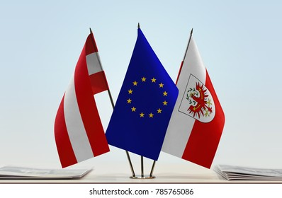 Flags of Austria European Union and Tyrol (state)