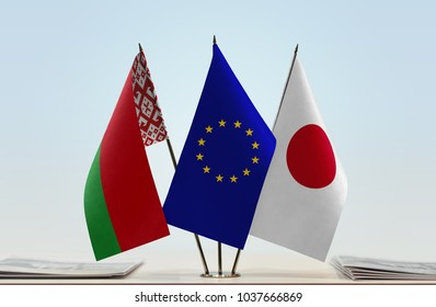 Flags of Belarus European Union and Japan