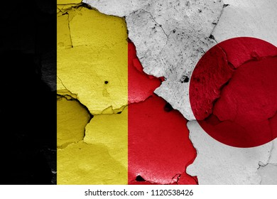 flags of Belgium and Japan