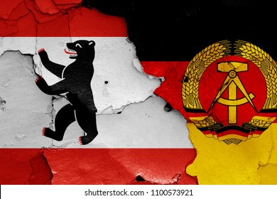 flags of Berlin and East Germany