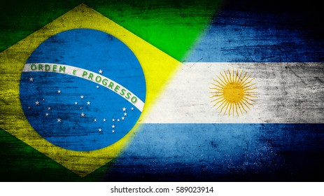 Flags of Brazil and Argentina divided diagonally