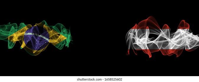 Flags of Brazil and Austria on Black background, Brazil vs Austria Smoke Flags