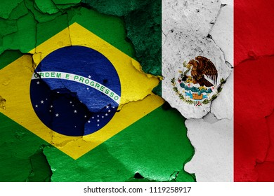 flags of Brazil and Mexico