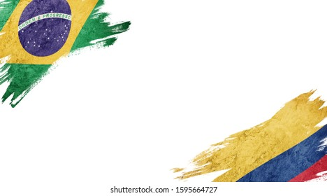 Flags of Brazil andColombia on White Background