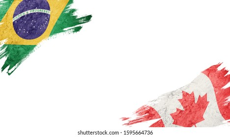 Flags of Brazil andCanada on White Background