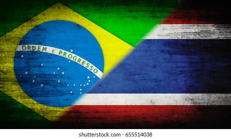 Flags of Brazil and Thailand divided diagonally