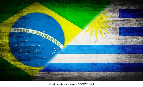 Flags of Brazil and Uruguay divided diagonally