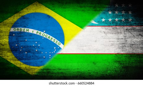 Flags of Brazil and Uzbekistan divided diagonally