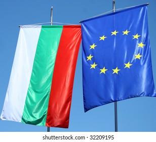 flags of Bulgaria and Europe