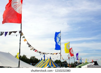Flags and bunting at a UK summer festival