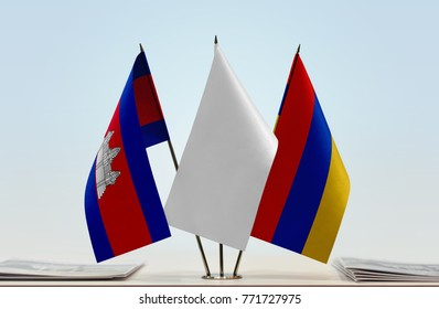 Flags of Cambodia and Armenia with a white flag in the middle