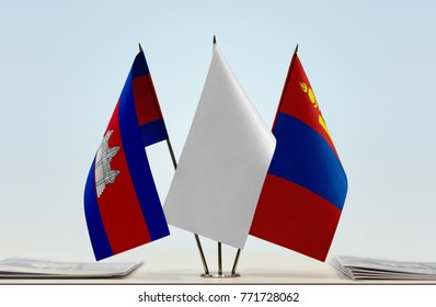 Flags of Cambodia and Mongolia with a white flag in the middle
