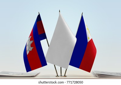 Flags of Cambodia and Philippines with a white flag in the middle