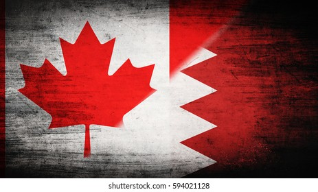 Flags of Canada and Bahrain divided diagonally