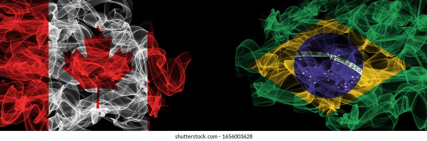 Flags of Canada and Brazil on Black background, Canada vs Brazil Smoke Flags