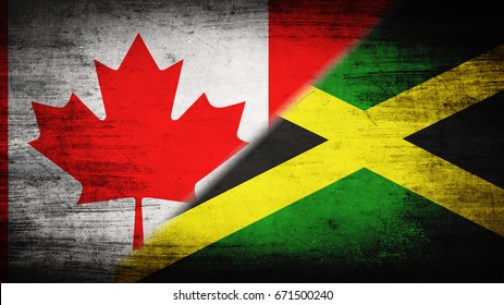 Flags of Canada and Jamaica divided diagonally