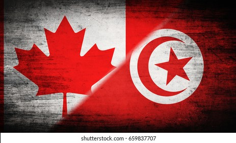 Flags of Canada and Tunisia divided diagonally