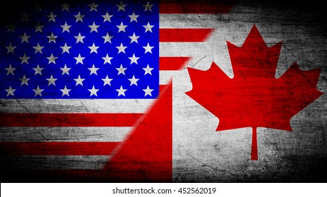 Flags of Canada and USA divided diagonally