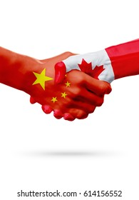 Flags China, Canada countries, handshake cooperation, partnership, friendship or sports team competition concept, isolated on white 3D illustration