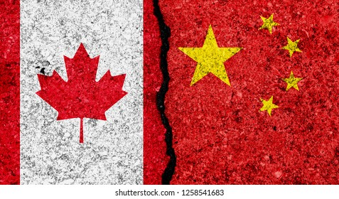Flags of China and Canada painted on cracked grunge wall background/Canada and China relations and conflict concept