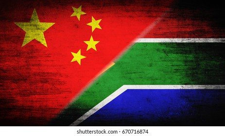 Flags of China and Republic of South Africa divided diagonally