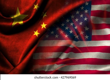 Flags of China and the USA on a textured material