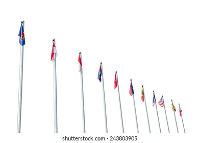 Flags collection of  Asean Economics Community (AEC) group with white background