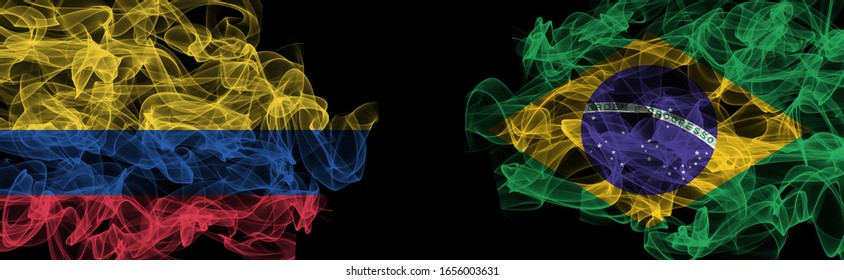 Flags of Colombia and Brazil on Black background, Colombia vs Brazil Smoke Flags