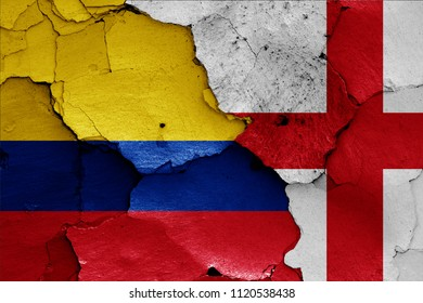 flags of Colombia and England