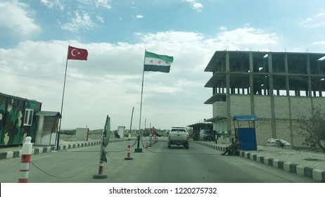 Flags at the Control point in Jarablus that is a town was captured On 24 August 2016 by Turkey Backed Free Syrian Army from ISIS forces. Now City is free and has a peace. Nov. 3 2018 Jarablus Syria