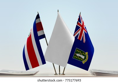 Flags of Costa Rica and British Virgin Islands with a white flag in the middle
