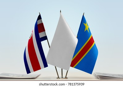 Flags of Costa Rica and Democratic Republic of the Congo (DRC, DROC, Congo-Kinshasa) with a white flag in the middle