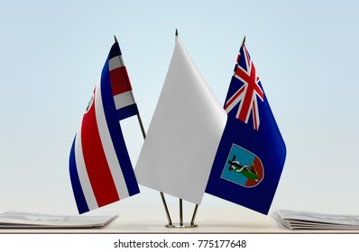 Flags of Costa Rica and Montserrat with a white flag in the middle