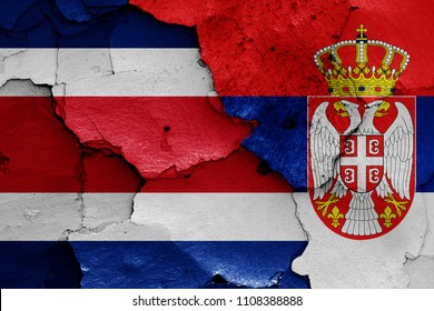 flags of Costa Rica and Serbia