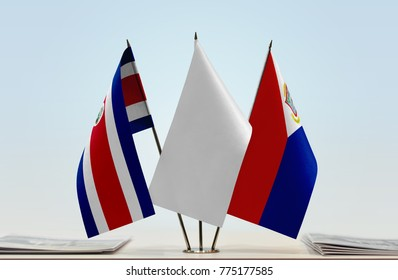 Flags of Costa Rica and Sint Maarten with a white flag in the middle