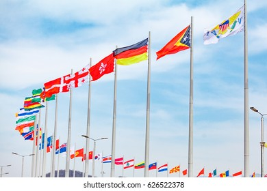 Flags of countries. different countries on the flagpole