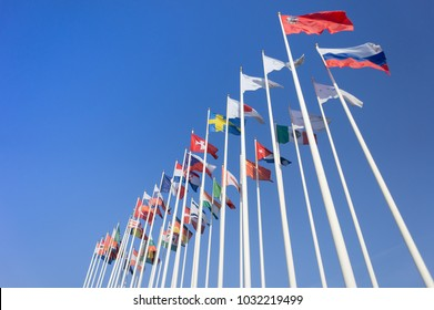 Flags of countries on the background of the blue sky.